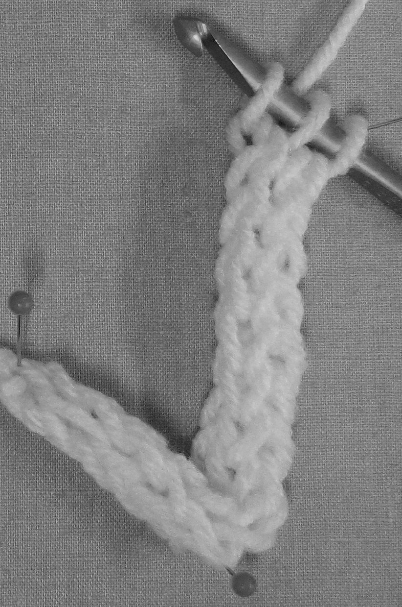 Crochet I Cord : crochet ST st i.cord on the hook in black and white.cropped