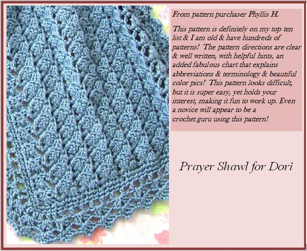 Prayer Shawl for Dori crochet skerin