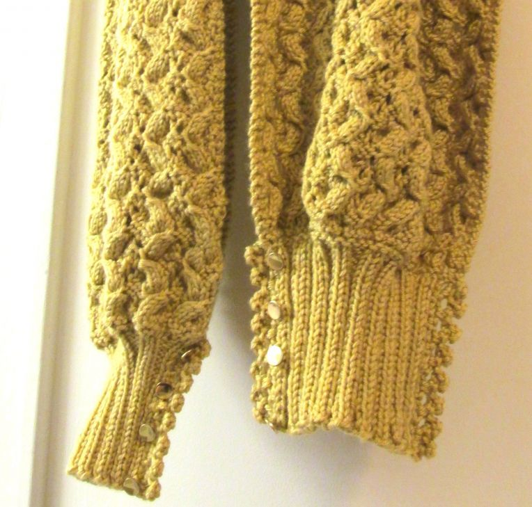 ?Shawl Etta? Knit Pattern with Lace Edged Ribbed Cuffs ? goes from scarf, to ...