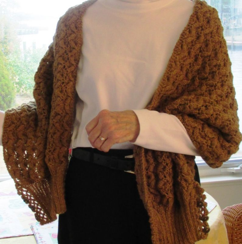 Knitting Pattern Shawl With Cuffs : ?Shawl Etta? Knit Pattern with Lace Edged Ribbed Cuffs ? goes from scarf, to ...