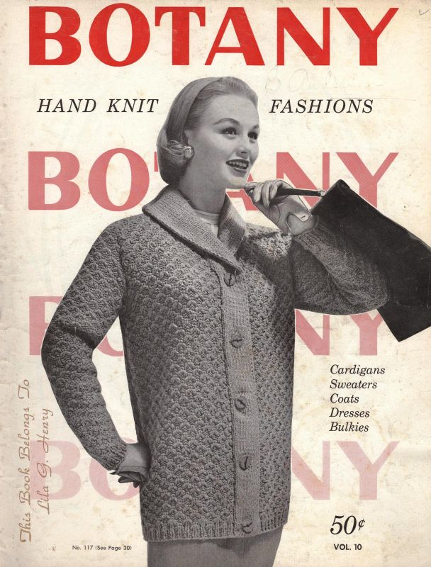 Botany Hand Knit Fashions Cardigans Sweaters Coats Dresses Bulkies Vol 10  1957 Botany Yarns 36 pgs sk458 cash/money orders also accepted