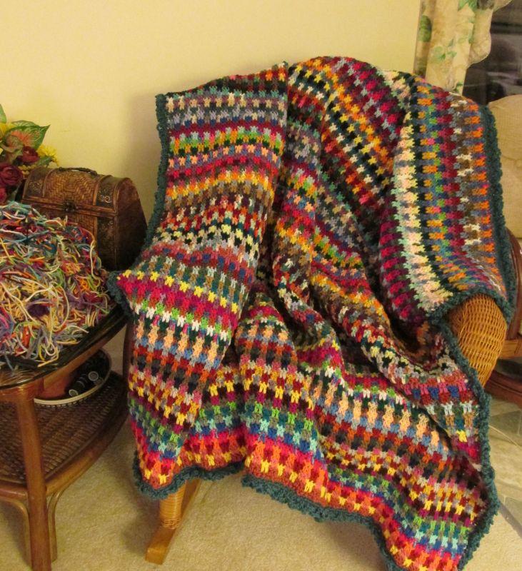 Drop Stitch Scrap Afghan Crochet Pattern Easy Knit