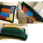 pickup stitch pillow in knit with crochet edge